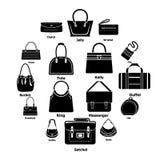 I tipi icone della borsa della donna hanno messo, stile semplice Fotografia Stock