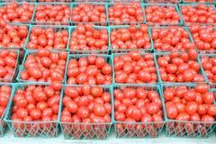 I tomates della prugna del bambino in un cuore hanno modellato la ciotola Immagini Stock