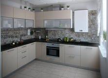 I toni conservatori interni della cucina moderna, 3D rendono Immagine Stock