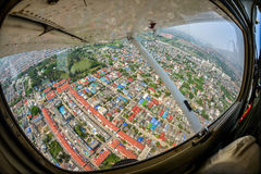 Like a bird flying in the sky. I took this while I was on an airplane of Thai Air-force Stock Images