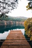 Blue Hole Hideaway Dock Jumping royalty free stock photography