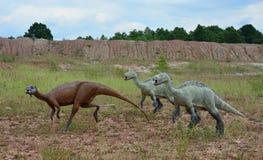 I tre delle ricostruzioni dei rettili e degli anfibi mesozoici Fotografia Stock