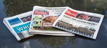 I tre giornali principali di Montreal Immagini Stock