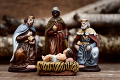 I tre re che adorano il bambino Gesù Fotografie Stock Libere da Diritti