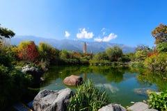 I tre si di tum di San delle pagode, datanti dall'ANNUNCIO di periodo di Tang 618-907, la Cina, Dali, il Yunnan, Cina Dali, il Yu fotografia stock