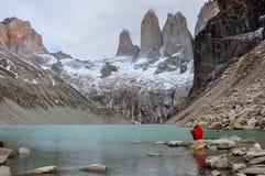 I tre Torres in Parque Nacional Torres del Paine, Cile Fotografie Stock Libere da Diritti