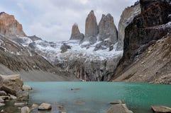 I tre Torres in Parque Nacional Torres del Paine, Cile Fotografia Stock