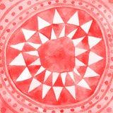 I triangoli tribali rossi circondano il fondo dell'acquerello illustrazione di stock