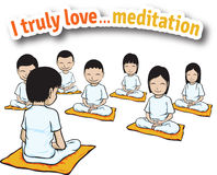 I truly love ... meditation. For meditate together Stock Images