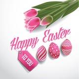 I tulipani e le uova felici di Pasqua progettano il vettore di ENV 10 royalty illustrazione gratis