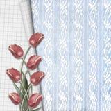 I tulipani rossi con il taccuino rivestono sul fondo del pizzo illustrazione vettoriale