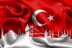 I turco diminuiscono, la Turchia, progettazione della bandiera Immagini Stock Libere da Diritti