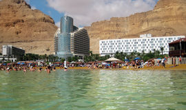 I turisti bagnano nel mar Morto, Israele Immagine Stock