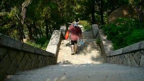 I turisti che camminano nella pietra della montagna fa un passo, portatori che camminano sul boulevard in montagne stock footage