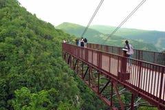 I turisti sulla piattaforma di osservazione guardano giù nella gola profonda Immagini Stock Libere da Diritti