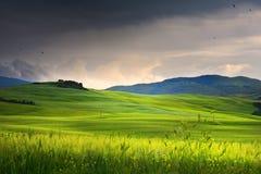 By i tuscany; Italien bygdlandskap med den Tuscany rolen arkivfoton