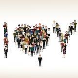 I, U en harten van de mensen Stock Afbeelding