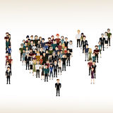 I, U and hearts of the people. Vector illustration of the letter I, U and hearts of the people Stock Image