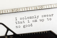 I am up to no good written on old typewriter Stock Photo