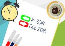 I 2019 - ut 2018 med begrepp för pilplansymbol royaltyfri illustrationer