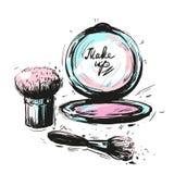 I vari cosmetici compongono le spazzole isolate su fondo bianco Fotografia Stock
