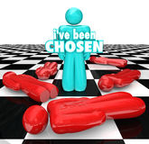 I've Been Chosen 3D Words Last Chess Person Piece Standing. I've Been Chosen 3d words on a blue chess person or piece as last one standing, winner or selected Royalty Free Stock Photos