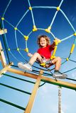 I've climbed on top of the playground Stock Images