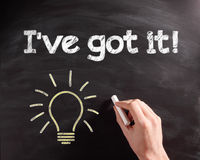 I've got it Phrase with Light Bulb on Chalkboard Royalty Free Stock Photography