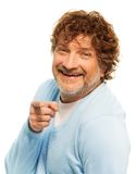 I've got you. Happy smiling and laughing senior handsome man pointing finger at viewer Stock Images