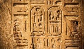 I vecchi geroglifici dell'egitto hanno intagliato sulla pietra Immagini Stock Libere da Diritti