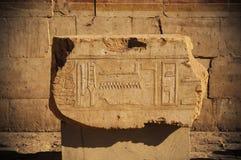 I vecchi geroglifici dell'egitto hanno intagliato sulla pietra Fotografie Stock Libere da Diritti