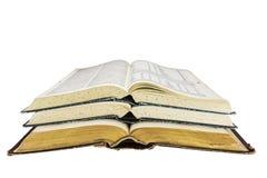 I vecchi libri aprono la scuola impilata della ricerca isolata Fotografie Stock Libere da Diritti