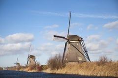 I vecchi mulini a vento olandesi, Olanda, estensioni rurali Mulini a vento, il simbolo dell'Olanda Fotografia Stock Libera da Diritti
