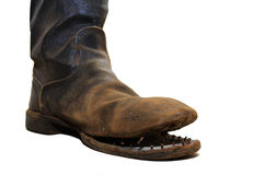 I vecchi stivali dei soldati. Fotografia Stock