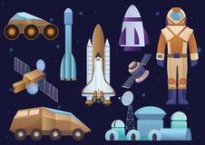 I veicoli spaziali, costruzione della colonia, razzo, cosmonauta in tuta spaziale, satellite e guasta l'insieme del girovago del  Fotografie Stock
