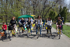 I'Velo Bike Day. People who participate at most important multi-annual bike-sharing project from Romania Royalty Free Stock Photography