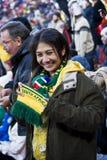I ventilatori di calcio del SA impacchettati in su & Brave il freddo Fotografia Stock Libera da Diritti