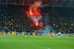 i ventilatori infornano i basamenti illuminati ucraini Immagine Stock