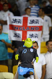 I ventilatori inglesi reagiscono dopo che battimento dell'Inghilterra della Svezia Immagine Stock Libera da Diritti