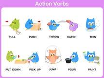 I verbi di azione rappresentano il dizionario (attività) per i bambini royalty illustrazione gratis