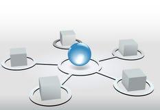 I vertici di rete dei cubi connettono alla sfera blu Fotografie Stock