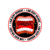 I am very hungry logo. Open mouth and teeth. Emblem for restaura Royalty Free Stock Photo