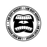 I am very hungry logo. Open mouth and teeth. Emblem for restaura Royalty Free Stock Photography