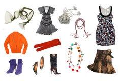 I vestiti delle donne hanno impostato Fotografie Stock Libere da Diritti