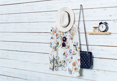 I vestiti e gli accessori delle donne Fotografia Stock