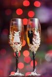 I vetri decorati di nozze Fotografia Stock Libera da Diritti