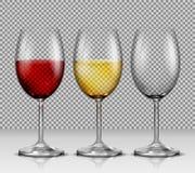 I vetri di vino trasparenti stabiliti svuotano, con vino rosso bianco e Immagini Stock Libere da Diritti