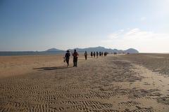 I viaggiatori camminano sulla spiaggia il comparire quando annacqui Fotografie Stock