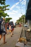 I viaggiatori con zaino e sacco a pelo che vanno dopo la luna piena fanno festa, la Tailandia Fotografie Stock