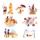 I viaggiatori tirano le montagne e la vacanza e le feste in secco di viaggio del mare royalty illustrazione gratis
